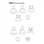 Väikelaste Pinafore-kleidid, suurused: A (XXS-XS-S-M-L), Simplicity Pattern #S8893