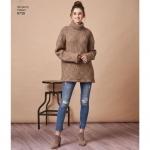 Women`s knit Mini Dress, Tunic or Top, Sizes: A (XXS-XS-S-M-L-XL-XXL), Simplicity Pattern #8738