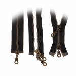 Open end two-way metal Zippers, Metal zip fasteners, 2 sliders, 50cm, member width: 6mm