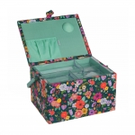 Suur õmblustarvikute karp Floral Garden: Teal 24 x 31 x 20 cm, Hobby Gift MRL.575