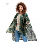 Kimono stiilis hõlmikvariatsioonidega, suurused: A (XS-S-M-L-XL), Simplicity Pattern # 8419