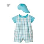 Väikelaste kombinesoon, kleit, topp, püksikud ja mütsid, suurused: A (XXS-XS-S-M-L), Simplicity Pattern #1447
