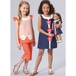 Girls` Banded, Appliquéd Dress, Top and Capris, with Dress for 18` Doll, Kwik Sew K0221