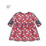 Babies` Leggings, Top, Dress, Bibs and Headband in three sizes S(17`) M(18`) L(19`), Sizes: A (XXS-XS-S-M-L), Simplicity Pattern #8304