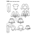 Laste seelik, trikooretuusid, topp ja Cardigan, suurused: A (3-4-5-6-7-8), Simplicity Pattern #1332