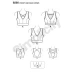 Naiste trikoo-spordirinnahoidjad, suurused: A (30A-44G), Simplicity Pattern # 8560