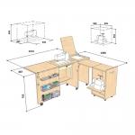 Käsityöt ja ompelukoneen työpöytä (kaappi) Comfort 3