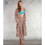 Misses` Robe, Pants, Top and Bralette, Sizes: A (XS-S-M-L-XL), Simplicity Pattern #8800