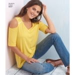 Naiste trikoo-topid piha ja varrukavariatsioonidega, suurused: A (XXS-XS-S-M-L-XL-XXL), Simplicity Pattern #8337