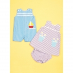 Infants` Buttoned and Appliquéd Overalls, Dress and Panties, Kwik Sew K0220