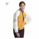 Women`s Lined Bomber Jacket with Fabric & Trim Variations, Simplicity Pattern #8418