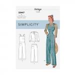 Naiste vintage püksid, kombinesoonid ja pluusid, Simplicity Pattern # 8447
