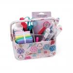 Fabric Covered open Sewing Basket Mini Grey Spot, (d/w/h): 31.5 x 23 x 14.5 cm, Hobby Gift MRCOM.444