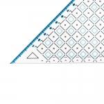 Ruutmärgistusega kolmnurk-joonlaud 19(22)cm, Triangle Plastic Clear View Ruler, Le Summit 34219