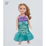 Laste ja 45cm pikkuse nuku kostüümid, suurused: A (3-4-5-6-7-8), Simplicity Pattern #8725