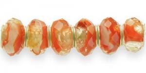 KL15 14x10mm Oranži, läbipaistva kirju pandora tüüpi helmes