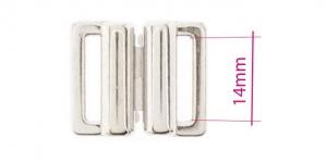 UC8, Metal Bra Lock, Bra fastener for 14mm strip, shiny chromium plating