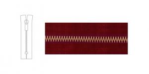 3912OX, Metallivetoketju, umpiketju, pituus 21cm-22cm, hammastus 6mm, punaviininpunainen & patinoitu pronssi