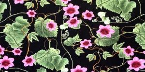 Trikookangas Roosa, rohelise mustriga, mustal taustal puuvillasegu kangas 319881