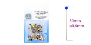Normaalmõõtmetega klaaspea-nööpnõelad (KL pakendis); 50tk, 30 x ø0,60mm