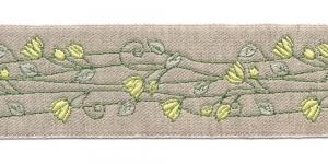 Pool-linane lillemustriga pael Art.815PG laiusega 50mm kollaste õitega, Värv 3
