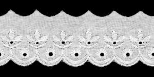Broderiipits lehtedega laius 50mm Nr.5 Valge
