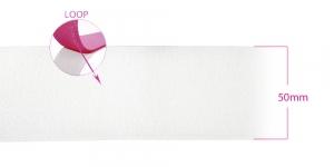 Лента липучка, мяхкая лента петля, ширина 50 мм, белая