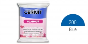 Polymer clay, CERNIT GLAMOUR, Pearlescent and metallic colours, 56g, Blue 200