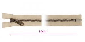 1825ОХ, Metall-tõmblukk pikkusega 16cm, 6mm antiikpronks hammastikuga, beeš