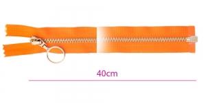 1091NI, Alt avatav 4mm hammastikuga metall-tõmblukk pikkusega 40cm, oranž, nikeldatud hammastikuga, rõngaga kelk, Opti