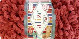 Pehme aasadega lõng Puffy Fine firmalt Alize, värv 90, terrakota
