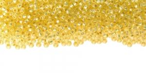 Terahelmed, seemnehelmed, Nr.11 (2-2.2 mm), Preciosa Helekollased, läbipaistvad, matid, hõbedase, läikiva auguga, HH69