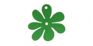 Lillekujuline roheline puitdetail / Green Flower Pendant / 25 x 2mm / IO164