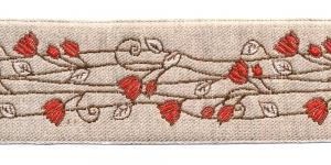 Pool-linane lillemustriga pael Art.815PG laiusega 50mm punaste õitega