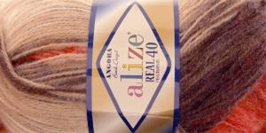 Mohäärlõng Alize Angora Real 40 Batik Design, värv 4574 pruunid-beežid-punased toonid