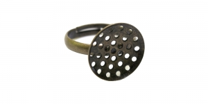 Antique Bronze Perforated Round Finger Ring Base ni-free / 16mm / EA86