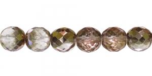 LG68A Ümar tahuline klaaspärl, Tšehhi, 12mm, Helehallikas läbipaistev 1/3 Vaskse kattega