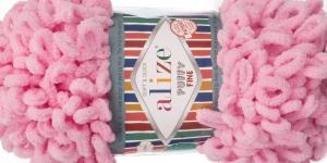 Pehme aasadega lõng Puffy Fine firmalt Alize, värv 39, roosa