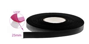 Õmmeldav takjapael, pehme pool LOOP, laius 25 mm, must