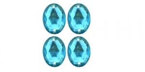 WF15 18x13mm Hele türkiissinine, tahuline ovaalne akrüülkristall, 4tk