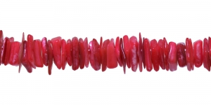 JF27 / Punakates toonides teokarbist helmed / Dyed Polished Shell Beads; Red / 3-12mm