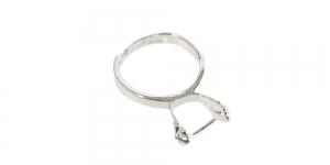 Sõrmusetoorik pärlikohaga hõbedane niklivaba / Silver Finger Ring Base with Mounting Stick ni-free/ 16mm / EA99