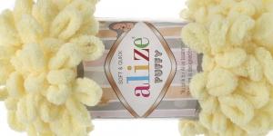 Pehme aasadega lõng Puffy Soft & Quick firmalt Alize, värv 13, helekollane