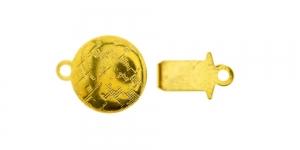 Karpkinnis kuldne / Golden Round Box Clasp with Antique Floral Pattern / 14 x 10mm / EJ26