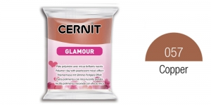 Polymer clay, CERNIT GLAMOUR, Pearlescent and metallic colours, 56g, Copper 057