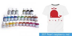 Pärlmuttervärv kanga värvimiseks, Fabric Paint Pearl, 50 ml, Vielo, Värv: vaarikapunane, #207 Pearl raspberry red