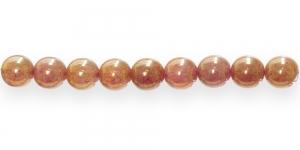 LN361 Ümar klaaspärl, Tšehhi, 10mm, Roosakasbeež metallik läikega
