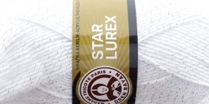 Metallikniidiga akrüüllõng Star Lurex, Madame Tricote, värv nr. 0G, valge hõbedase metallikniidiga