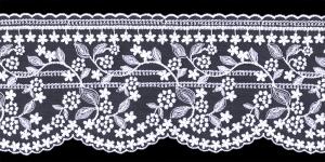 Õrn tüllile tikitud servapits WT-30692 laiusega 12,5 cm, värv valge