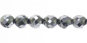 LO173 Ümar tahuline klaaspärl, Tšehhi, 14mm, Tume hõbedane läbipaistmatu